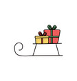 sled with gift boxes merry christmas celebration vector image