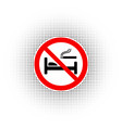 symbols of a sign that restrict smoking in bed vector image