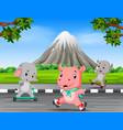 three animals playing in the road vector image vector image