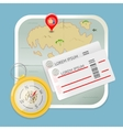 travel map tickets compass icon vector image