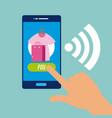 using smartphone to buy online vector image vector image