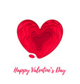 valentines day card with papercut heart on white vector image vector image