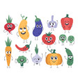 vegetable mascots happy carrot cute cucumber and vector image vector image