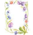 watercolor frame from different flowers vector image vector image