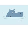 Hippo in water Big fat hippopotamus in swamp Cute vector image
