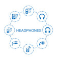 8 headphones icons vector image vector image