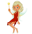 A fairy holding a yellow wand vector image vector image