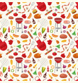 bbq seamless pattern with grill objects and icons vector image vector image