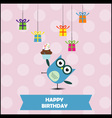 Birthday party card with cute owl vector image vector image