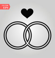 black wedding rings icon on white vector image