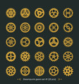 brass cogs on dark green background steampunk vector image