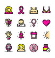 breast cancer awareness month icons vector image vector image