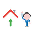 businessman character pointing up with arrow vector image