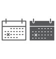 calendar line and glyph icon office vector image