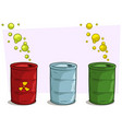 cartoon coloful barrels with yellow radiation sign vector image vector image