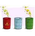cartoon colorful barrels with yellow radiation sig vector image vector image