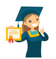 caucasian white graduate giving thumb up vector image vector image