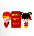 Chinese boy and chinese girl cartoon have smile vector image vector image