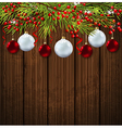 Christmas card with green fir branch vector image vector image
