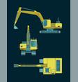 colorful heavy excavator blueprints vector image