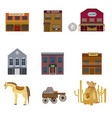 colorful wild west elements set vector image vector image