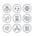 communication media line icons on white vector image