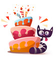 cute little cat with cake vector image