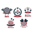Dart game tournament icons and symbols vector image vector image