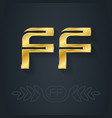 f and f - initials or golden logo ff - metallic vector image vector image
