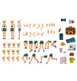 girl tourist creation kit set of different body vector image vector image