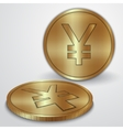 gold coins with Japanese Yen currency sign vector image vector image