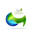 Green leaf modern concept with droplet vector image vector image
