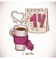 greeting card with cup tea in a scarf vector image vector image