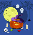halloween poster for halloween party night flat vector image vector image
