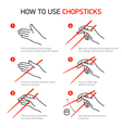 How to use chopsticks guidance vector image vector image
