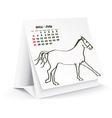 July 2014 desk horse calendar vector image vector image