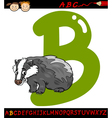 letter b for badger cartoon vector image vector image