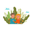love couple grass outdoors nature together happy vector image
