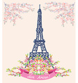 Love in Paris nice card - vintage floral design vector image