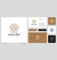 love pet logo line style and business card vector image