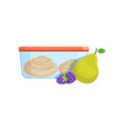 lunch box with biscuits pear and blackberries vector image vector image