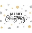 merry christmas card with hand drawn lettering vector image