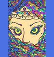 muslim woman - fantastic art doodle psychedelic vector image