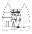 outline woman and man wearing glasses with casual vector image vector image