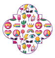 pattern shape badge with cute patches fantansy vector image vector image