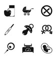 pregnancy symbols icons set simple style vector image vector image