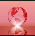 red shining transparent earth globe vector image vector image