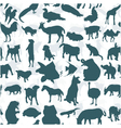 Seamless of silhouette set of animals vector image vector image