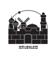 Silhouette of the Old City Jerusalem Israel vector image