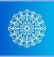 snowflake created from ornamental patterns on blue vector image vector image